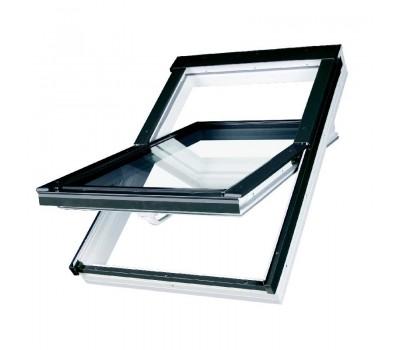 Различный цвет  Среднеповоротные пластиковые окна -  Окно мансардное Fakro РТР U4 profi ПВХ 55х78